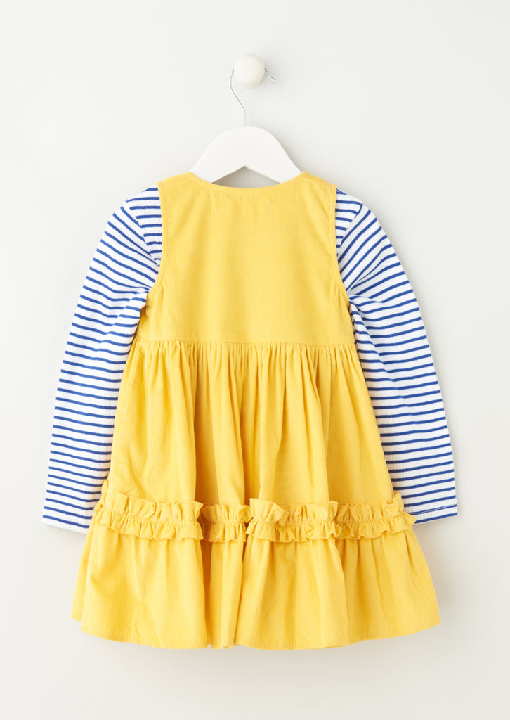 Norie Cord Pinny Set With Stripe Top