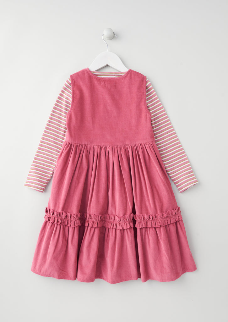 Norrie Cord Pinny Set With Stripe Top