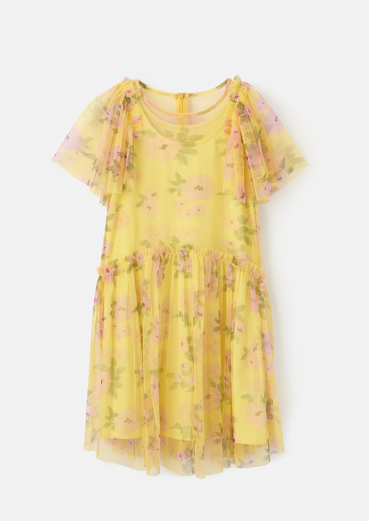 Ruffle Sleeve Floral Mesh Dress