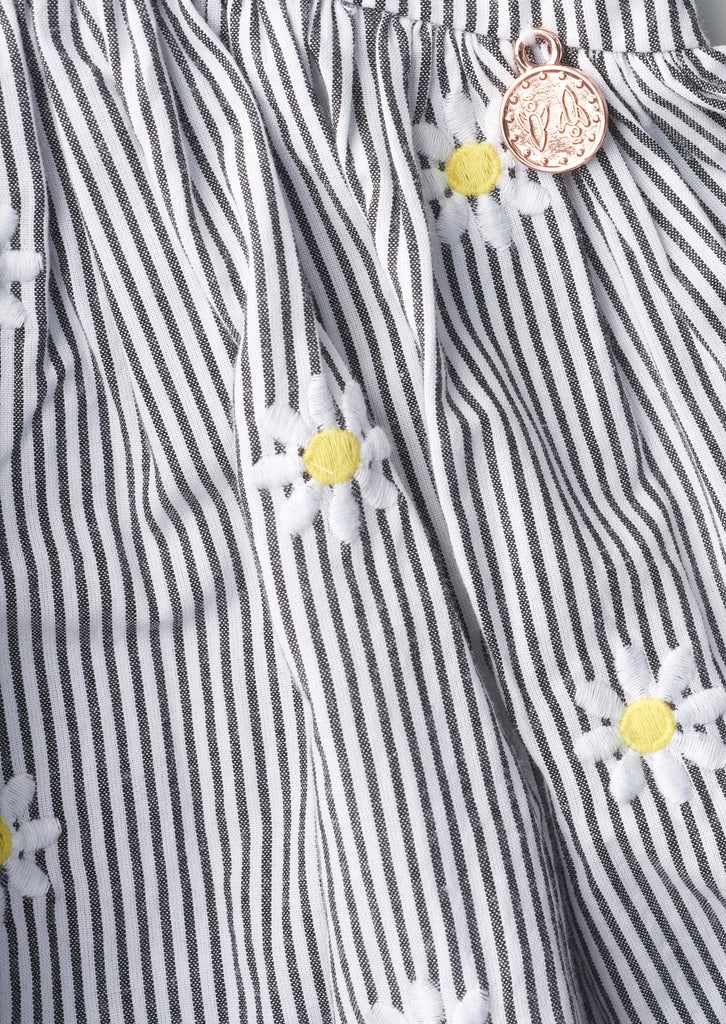 Embroidered Daisy Ticking Black/White Stripe Dress