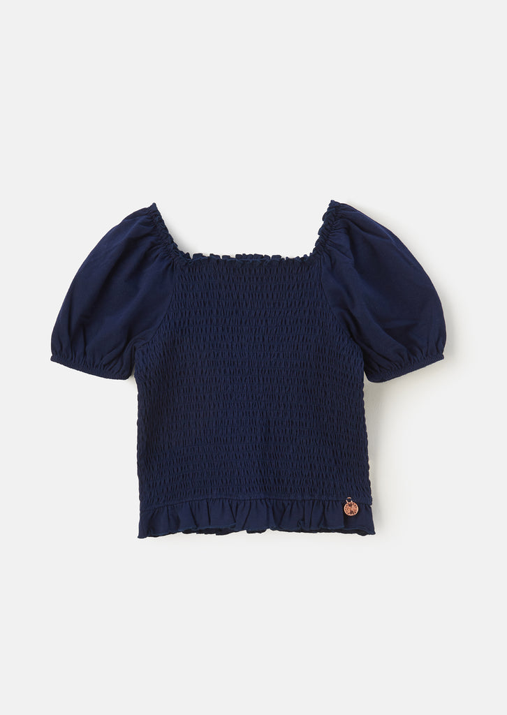 Shirred Navy Jersey Top