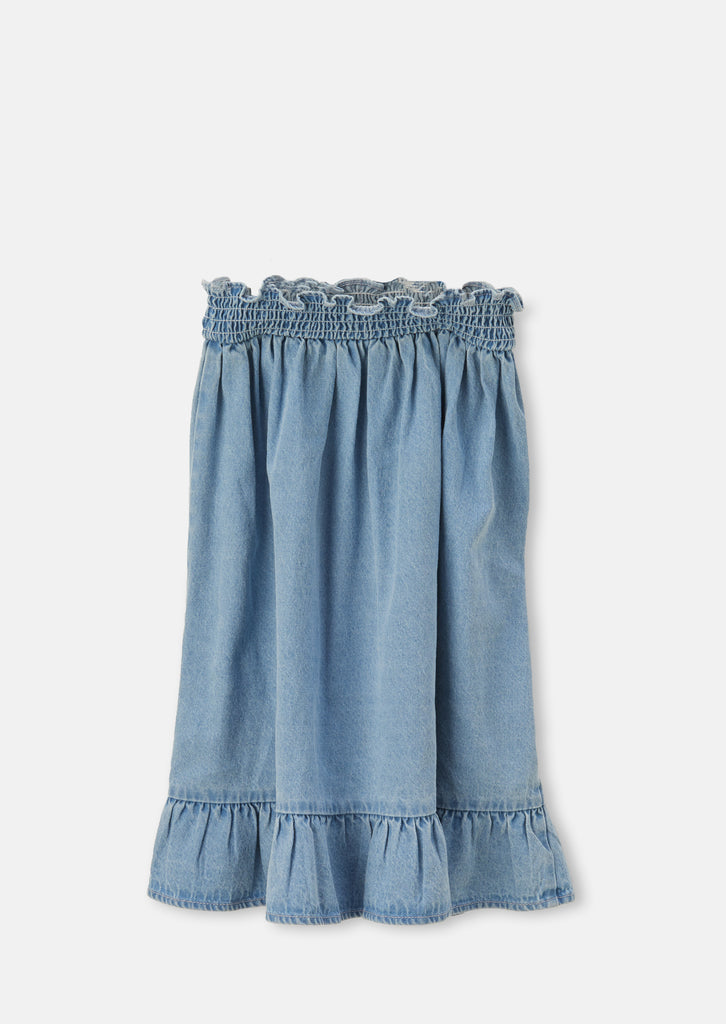 Shirred Waist Denim Skirt