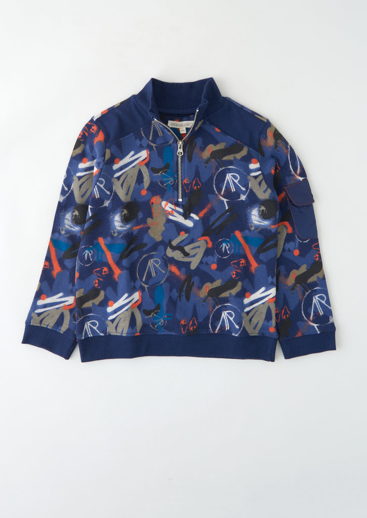 Beau Quarter Zip Printed Sweat