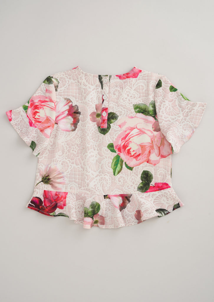 Darcy Frill Sleeve Floral Top
