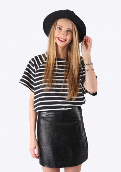 Maddy Leatherette Skirt $59
