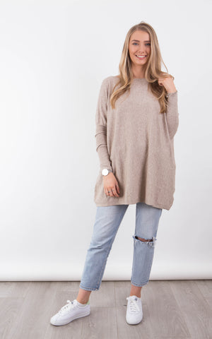 Ribbed Zoe Top - Grey