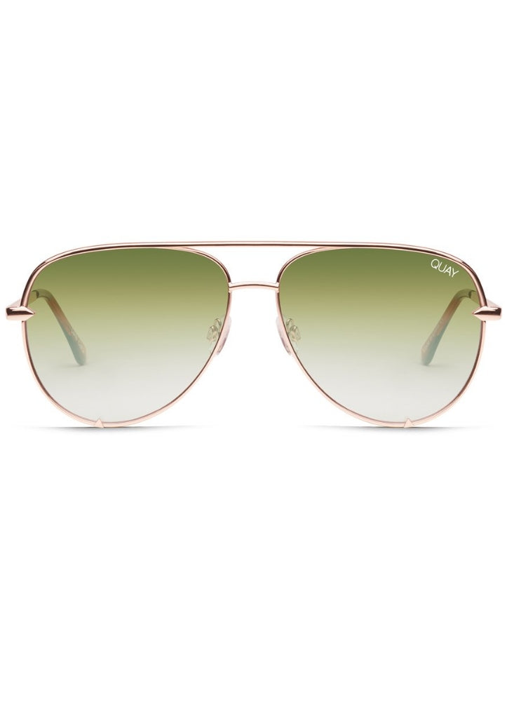 QUAY SUNGLASSES - HIGH KEY MINI ROSE/GREEN