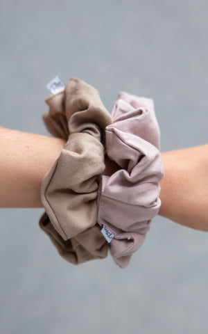 Cotton Scrunchie 2PK - Greystone + Copper