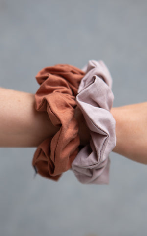 Cotton Scrunchie 2PK - Taffy & Greystone