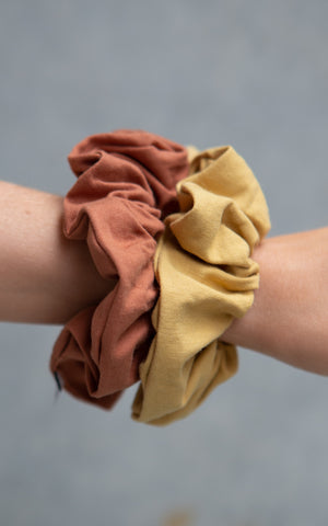 Cotton Scrunchie 2PK - Copper + Stucco