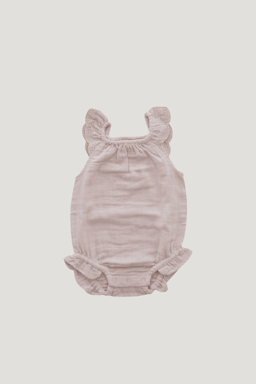 Organic Cotton Muslin Lace Playsuit - Candy Floss