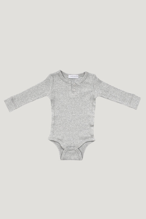 Original Cotton Modal Bodysuit - Light Grey Marle