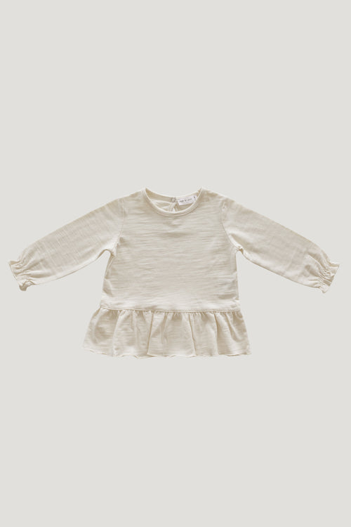 Slub Cotton Bailey Top - Cloud