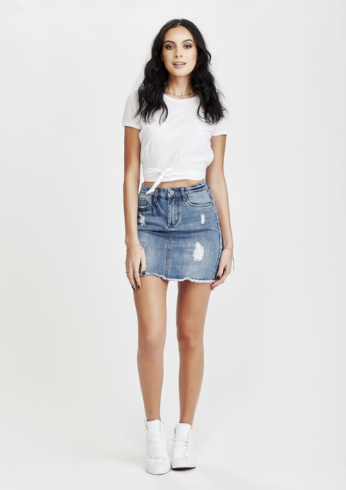 JUNKFOOD NAVEYA RIPPED SKIRT BLUE