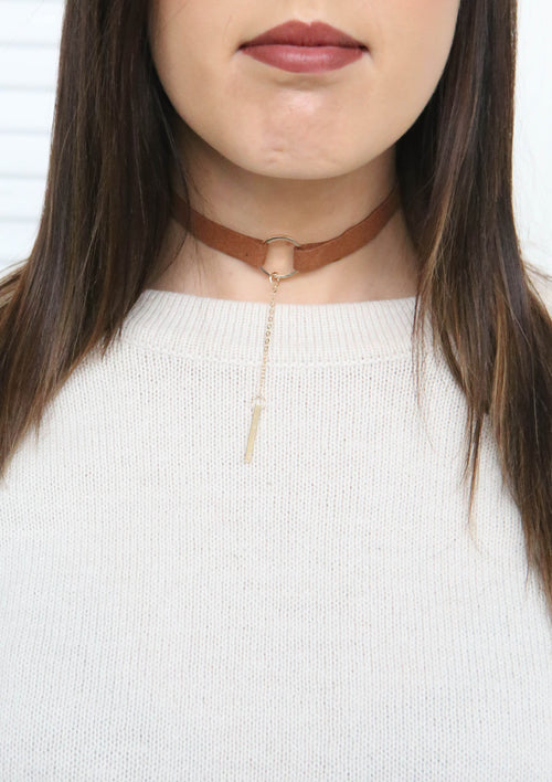 T Chain Choker - Tan/Gold