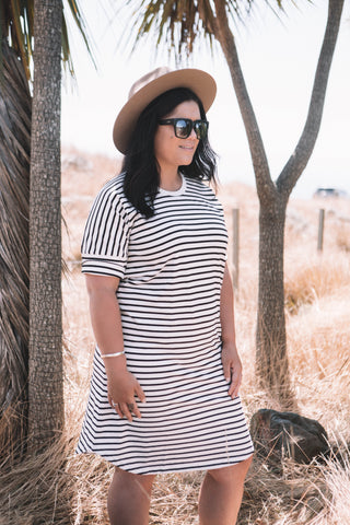 JC Tee Dress - Black / White Stripe
