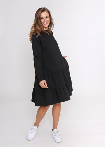 LYDIA TEE DRESS -B/W STRIPE