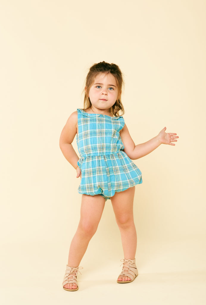 peter pan romper: blue checker