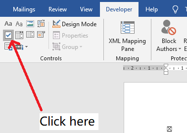 Word - How to add a checkbox control