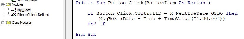Excel VBA ribbon button action code