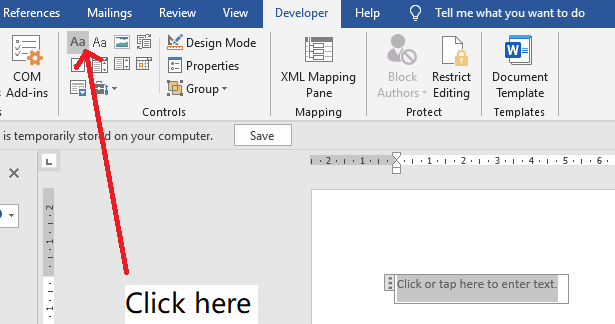 Word - How to add a rich text field