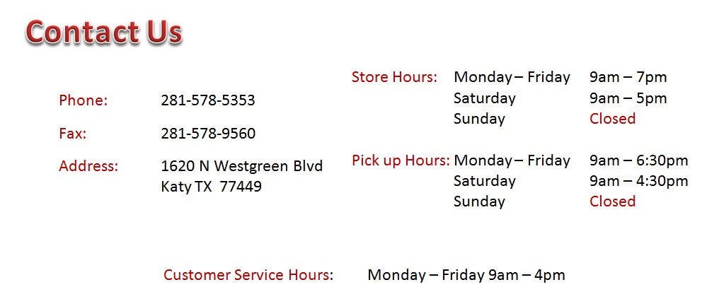 Store Hours Katy Furniture
