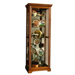 Victorian Two Way Sliding Curio Cabinet Oak - Katy Furniture