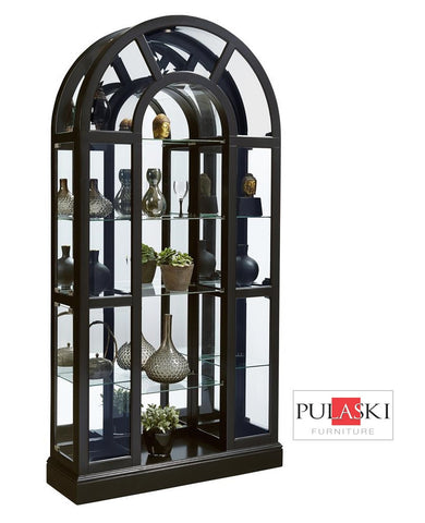 Lambergini Black Curved Top Accents Curio - Katy Furniture