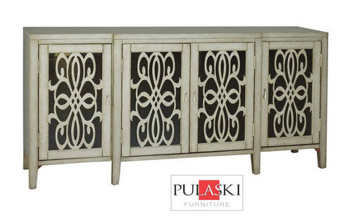 Mirrored Doors With Wood Grills Accent Chest