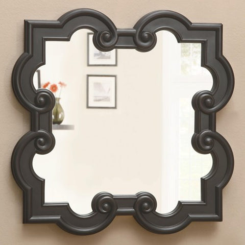 Black Quatrefoil Mirror