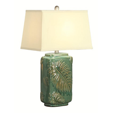 Green Table Lamp w/ Leaf Pattern