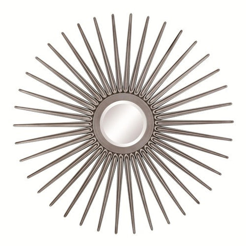Sun Shaped Wall Mirror in Antique Silver - Katy Furniture
