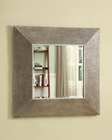Accent Mirrors Square Droplet Frame Mirror in Silver Finish