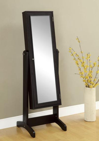 Cheval Mirror and Jewelry Armoire Cappuccino