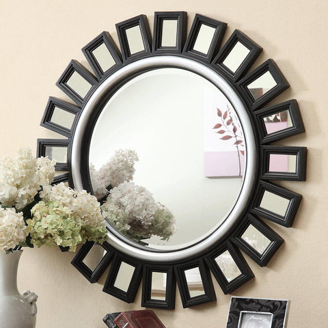 Black Sunburst Mirror with Silver Trim - Katy Furniture