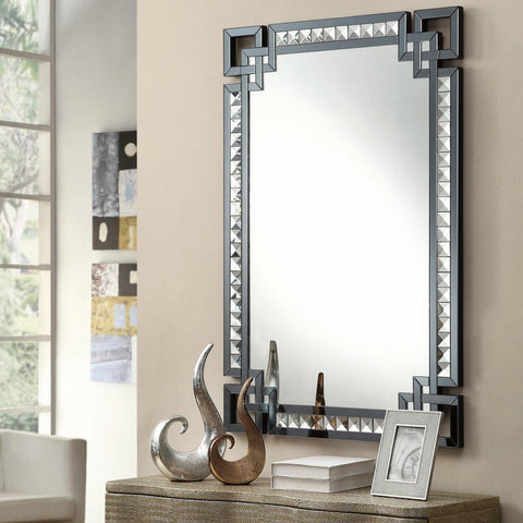 Rectangular Mirror with Smoked Glass Frame Border - Katy Furniture