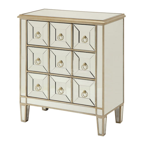 Mirror Accent Cabinet w/ Gold Trim