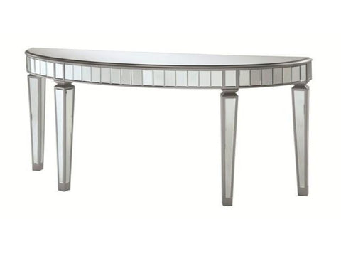 Half Oval Mirrored Console Table - Katy Furniture