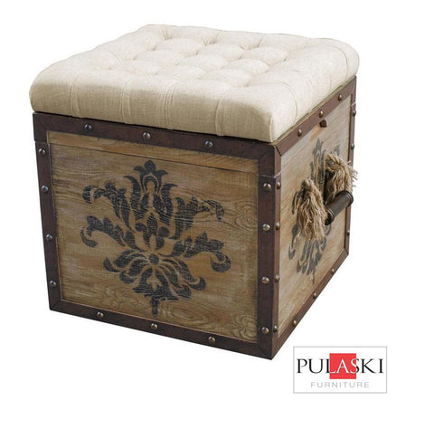 Upholstered Ottoman Rustic Crate