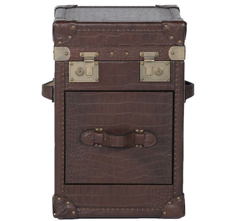 Leather Steamer Trunk Side Table - Katy Furniture