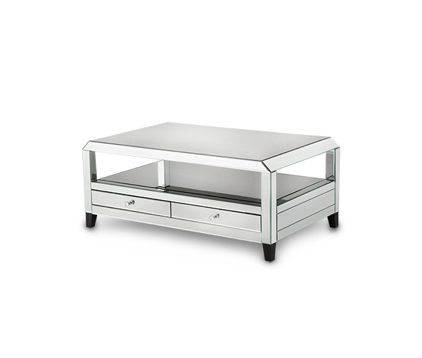 Montreal mirrored console table with drawers katy furniture for Mirrored console with drawers