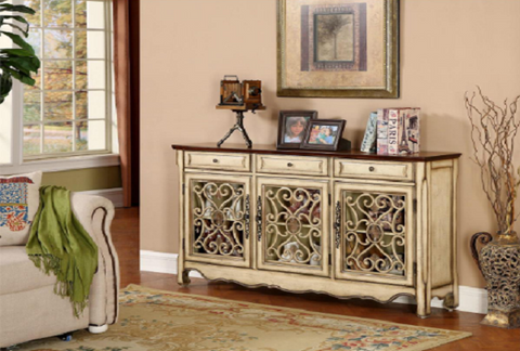 Harvester Textured Cream 3 Drawer/ 3 Door Credenza