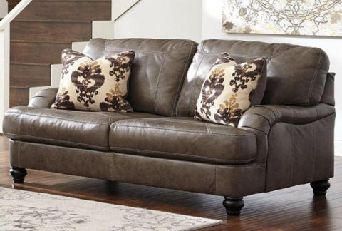 Kannerdy Leather Loveseat - Katy Furniture