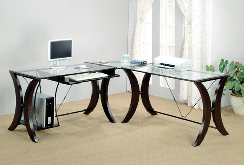 L-Shaped Glass Top Desk