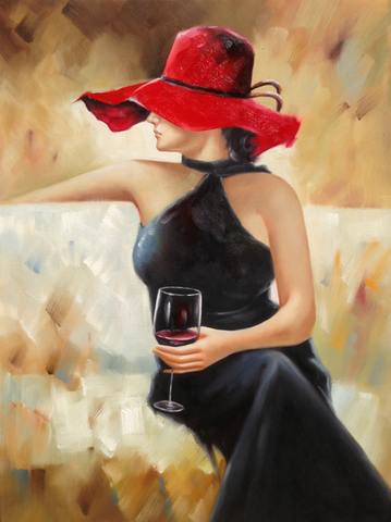 Lady In Black Holding Wine Glass - Katy Furniture