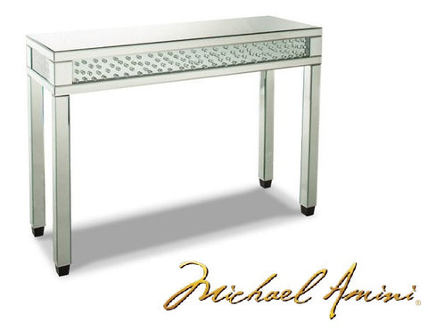 Montreal Silver Mirrored Console Table w/Crystals