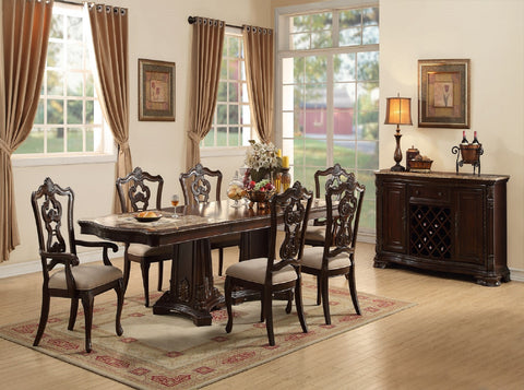 Riviera Marble top Table w/  6 Chairs