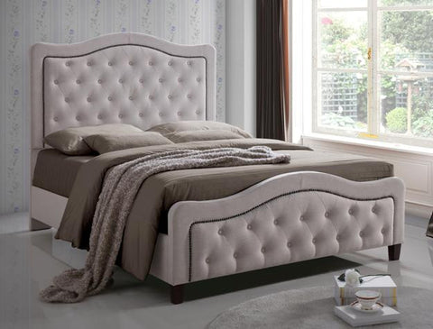 Anna Upholstered Button Tufted Queen Bed