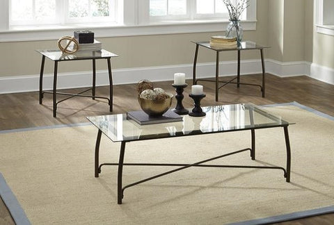 Burmesque Coffee Table w/ 2 End Tables - Katy Furniture