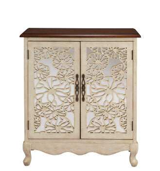 Caprice 2 Door Ivory & Brown Cabinet